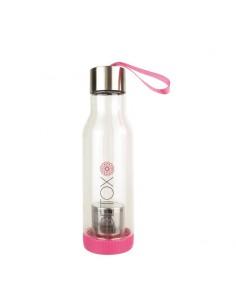 bouteille détox rose avec infuseur
