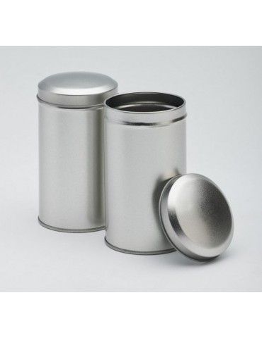 Boite à Thé Vrac - Boite métal thé en vrac - Boite Cylindre Grise 125g